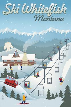 Whitefish, Montana - Retro Ski Resort by Lantern Press