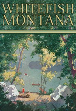 Whitefish, Montana - Scenic View of a Campground by a Lake - Poster by Lantern Press