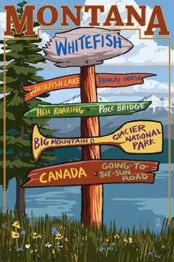 Whitefish, Montana - Sign Destinations by Lantern Press