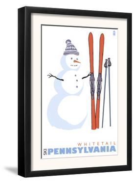 Whitetail, Pennsylvania, Snowman with Skis by Lantern Press