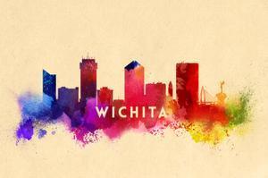 Wichita, Kansas - Skyline Abstract by Lantern Press