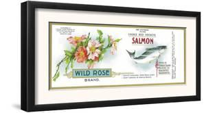 Wild Rose Salmon Can Label - Anacortes, WA by Lantern Press