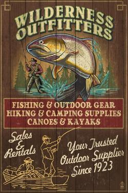 Wilderness Outfitters - Vintage Sign by Lantern Press