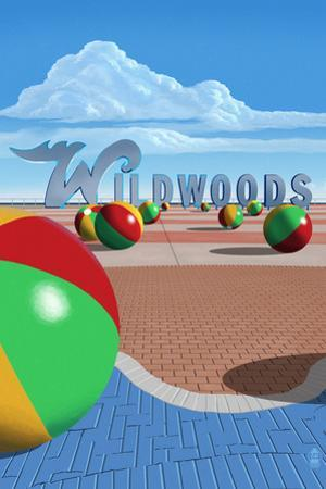 Wildwood, New Jersey - Beach Balls and Sign by Lantern Press