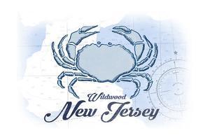 Wildwood, New Jersey - Crab - Blue - Coastal Icon by Lantern Press