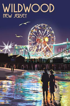 Wildwood, New Jersey - Pier and Rides at Night by Lantern Press