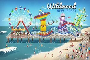 Wildwood, New Jersey - Retro Beach Boardwalk by Lantern Press