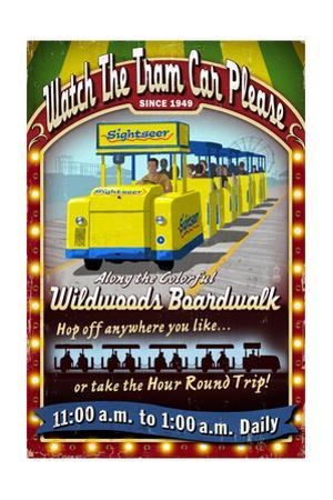 Wildwood, New Jersey - Tram Car Sign by Lantern Press