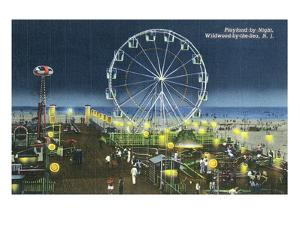 Wildwood, New Jersey - Wildwood-By-The-Sea Playland at Night View by Lantern Press