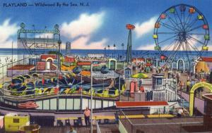 Wildwood, New Jersey - Wildwood-By-The-Sea Playland View by Lantern Press