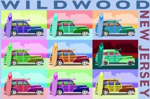 Wildwood, New Jersey - Woody Pop Art by Lantern Press