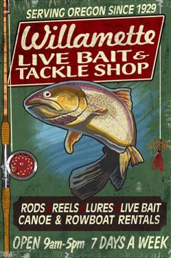 Willamette, Oregon - Tackle Shop Trout Vintage Sign by Lantern Press