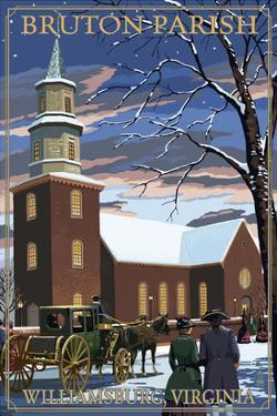 Williamsburg, Virginia - Bruton Parish in Snow by Lantern Press