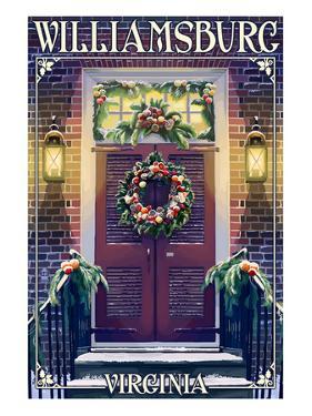 Williamsburg, Virginia - Christmas Door by Lantern Press
