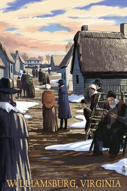Williamsburg, Virginia - Colonial Scene by Lantern Press