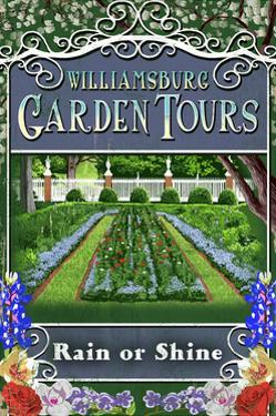 Williamsburg, Virginia - Garden Tours Vintage Sign by Lantern Press