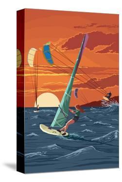 Windsurfers and Sunset by Lantern Press