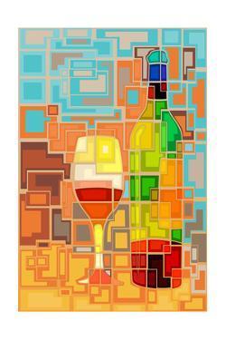 Wine Bottle and Glass Geometric by Lantern Press