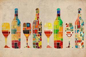 Wine Bottle and Glass Group Geometric by Lantern Press