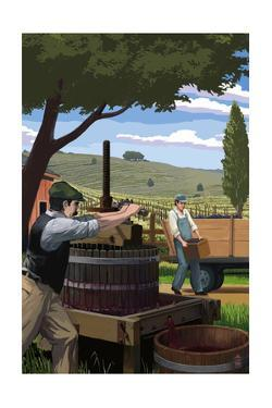 Wine Grape Crushing by Lantern Press