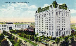 Winnipeg, Manitoba - Fort Garry Hotel, Union Depot Exterior by Lantern Press