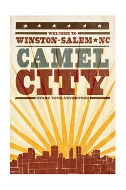 Winston-Salem, North Carolina - Skyline and Sunburst Screenprint Style by Lantern Press