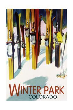 Winter Park, Colorado - Colorful Skis by Lantern Press