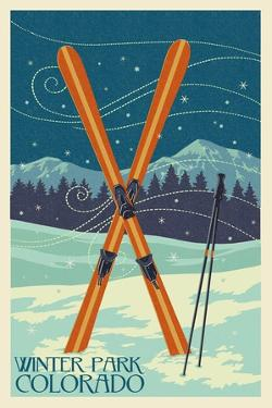 Winter Park, Colorado - Crossed Skis by Lantern Press