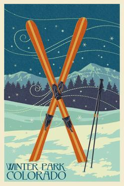 Winter Park, Colorado - Crossed Skis by Lantern Press