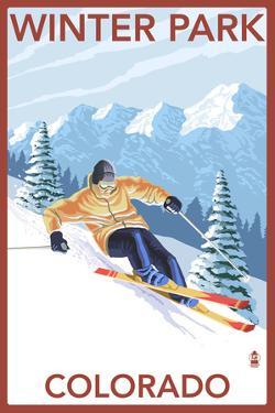 Winter Park, Colorado - Downhill Skier by Lantern Press