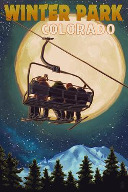 Winter Park, Colorado - Ski Lift and Full Moon by Lantern Press