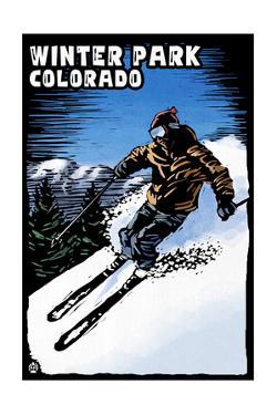 Winter Park, Colorado - Skier - Scratchboard by Lantern Press