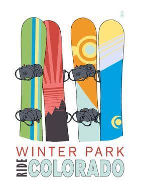 Winter Park, Colorado - Snowboards in Snow by Lantern Press
