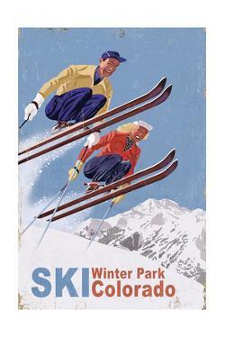 Winter Park, Colorado - Vintage Skiers by Lantern Press