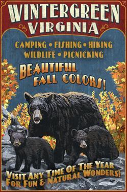 Wintergreen, Virginia - Black Bear Vintage Sign by Lantern Press
