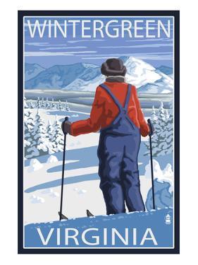 Wintergreen, Virginia - Skier Admiring View by Lantern Press