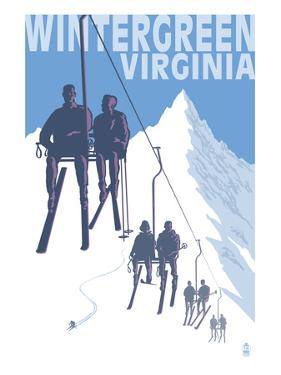 Wintergreen, Virginia - Skiers on Lift by Lantern Press