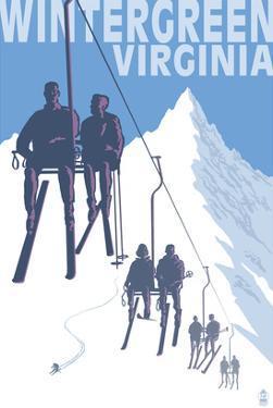 Wintergreen, Virginia - Skiers on Lift by Lantern Press
