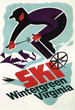Wintergreen, Virginia - Vintage Skier by Lantern Press