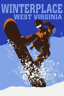 Winterplace, West Virginia - Colorblock Snowboarder by Lantern Press