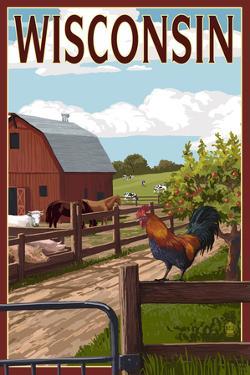 Wisconsin - Barnyard Scene by Lantern Press