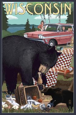 Wisconsin - Bear and Picnic Scene by Lantern Press