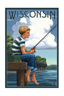Wisconsin - Boy Fishing by Lantern Press