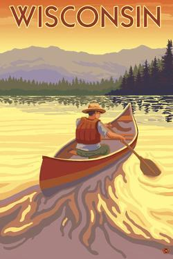 Wisconsin - Canoe Scene by Lantern Press