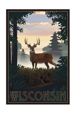 Wisconsin - Deer and Sunrise by Lantern Press