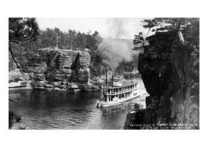 Wisconsin Dells, Wisconsin - High Rock from Romance Cliff, Steamer by Lantern Press