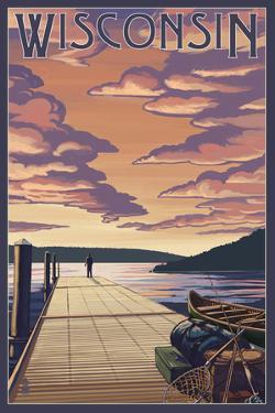 Wisconsin - Dock Scene and Lake by Lantern Press