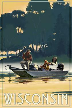 Wisconsin - Fishermen in Boat by Lantern Press