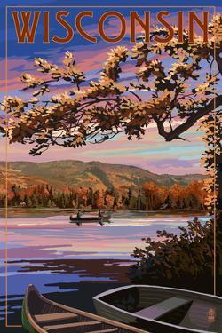 Wisconsin - Lake Sunset Scene by Lantern Press