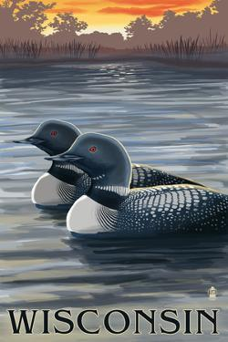 Wisconsin - Loons at Sunset by Lantern Press